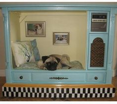 """Old TV Console - love the pictures on the """"wall"""""""