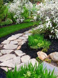 black mulch with stone pathway Lawn And Garden, Garden Paths, Big Garden, Easy Garden, Stepping Stone Pathway, Rock Pathway, Stone Paths, Walkway, Landscape Design