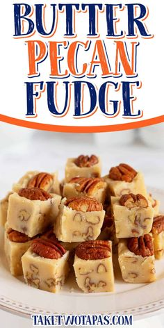 This Butter Pecan Fudge recipe is super easy and perfect for your sweet tooth. Creamy, buttery, and full of nutty toasted pecans, it's perfect for any occasion and makes a delicious gift! #FallFlavors Quick Easy Desserts, Great Desserts, Best Dessert Recipes, Fall Desserts, Delicious Desserts, Amazing Recipes, Nut Recipes, Fudge Recipes, Candy Recipes