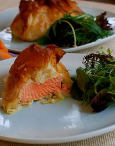 Salmon and Leek Filo Parcels