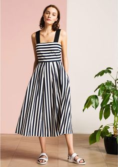 Navy & White Striped Sleeveless Midi Dress femme - Tara Jarmon 3