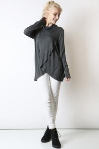 1adff40f20e0e5 MomMe And More Women's Gray Cowl Neck Shirt Cute Trendy Tunic Top – MomMe  and More