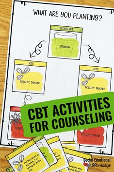 CBT worksheets for elementary school counseling that will help students understand the difference between thoughts and feelings. These simple, hands-on activities will get students thinking about how negative thoughts cause negative feelings and actions. Elementary School Counselor, School Counseling, Elementary Schools, School Counselor Organization, Group Counseling, Anxiety Activities, Feelings Activities, Health Activities, Social Work Activities