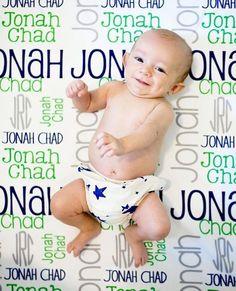Monogram Baby Blanket Personalized Baby Blanket Swaddle Receiving Blanket Baby Shower Gift