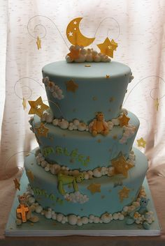 Moon, stars, and clouds baptism cake by Andrea's SweetCakes, via Flickr