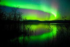 Northern lights Lake Reflection, Lake Laberage Yukon