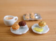 Miniature Coffee with Muffins  1/12 scale by mousemarket on Etsy, $28.30