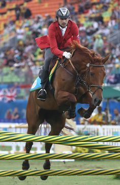 Alexander Lesun of Russia during the show jumping round of Modern Pentathlon on Day 15 of the Rio 2016 Olympic Games at Deodoro Stadium on August 20, 2016 in Rio de Janeiro, Brazil.