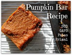 Pumpkin Bar Recipe with Superfood Ingredients! Gluten Free, Paleo, Coconut, Primal, GAPS, SCD, Gluten Free, Dairy Free