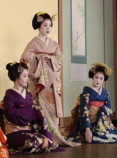 Gion Odori 2014: Photoshoot: Maiko Tomitae (Tomikiku),Maiko Ryouka (Sakaemasa) and Maiko Fukuharu (Okatome).