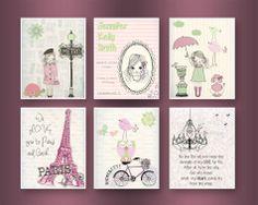 Paris+Nursery+Art++Baby+Girl+Nursery+Wall+Art++by+DesignByMaya,+$90.00