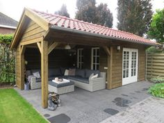 Shed/covered outdoor space combo. I love this idea. Backyard Pavilion, Backyard Bar, Backyard Sheds, Backyard Retreat, Backyard Landscaping, Outdoor Rooms, Outdoor Gardens, Outdoor Dining, Barbacoa Jardin
