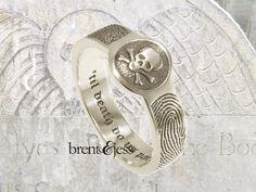 Badass! 'Til Death Do Us Part fingerprint signet ring personalized with YOUR fingerprints - Custom handmade fingerprint jewelry by Brent&Jess