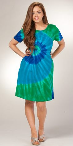 Cotton Knit Dresses - La Cera Casual A-Line Dress - Popping Blue