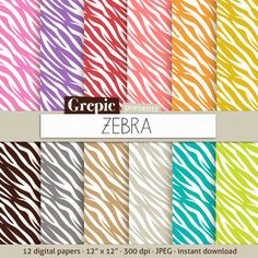Zebra digital paper ZEBRA with rainbow beige brown and by Grepic  https://www.etsy.com/listing/155067945/zebra-digital-paper-zebra-with-rainbow?ref=shop_home_active_1