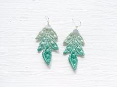 Green Ombre Lace Statement Earrings by White Bear
