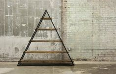 Reclaimed Old Growth Barn Oak & Steel Triangular Book Shelf on Etsy, $2,195.00