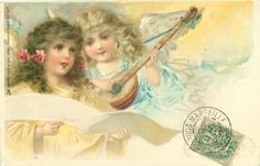Full Sized Image: two angels, one plays banjo, the other holds a scroll - TuckDB