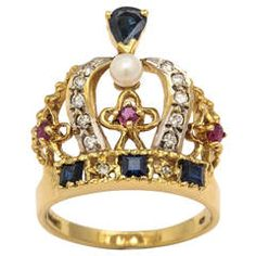 Pearl Ruby Sapphire Diamond Gold Crown Ring