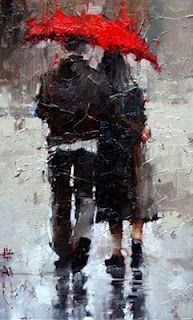 Andre Kohn: very romantic. Look how Kohn uses a brilliant red -- the only primary or even secondary color in the painting to make it pop and become warm painting, rather than a drab one. The subject matter is inspiring, too. Umbrella Art, Art For Art Sake, Beautiful Artwork, Beautiful Images, Art World, Painting Inspiration, Creative Art, Amazing Art, Modern Art