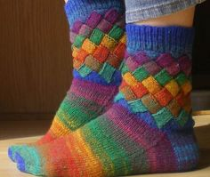 DIY Rainbow Color Patch Knitted Socks 5