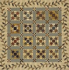 I just love the soft striped border with the lovely leaf applique border.  The nine patch cornerstones set the blocks beautifully!