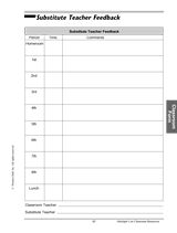 Substitute Teacher Feedback Form http://www.teachervision.fen.com/classroom-management/printable/6158.html