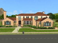 Mod The Sims - Lone Star Stair Walls, Stucco Walls, Texas Mansions, Sims 2 House, Roof Trim, Built In Hutch, Natural Stone Flooring, Dark Hardwood, Wood Molding