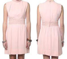 60s Party Dress Beaded Pink 1960s Cocktail Dress Empire Waist Vintage Mini Mad Men Sleeveless Medium M
