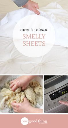 Rescue those musty, oily bed sheets and get them smelling fresh and clean again! You'll love how easy this process is to do. Deep Cleaning Tips, House Cleaning Tips, Cleaning Solutions, Spring Cleaning, Cleaning Hacks, Cleaning Products, Cleaning Recipes, Homemade Toilet Cleaner, Clean Baking Pans