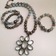 Green amethyst pendant, Amazonite, pyrite and diamond accents. Email lisajilljewelry@gmail.com for info and prices.