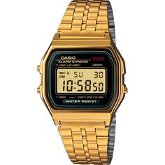 The Casio Gold Edition Vintage Digital Watch features a classic style with modern appeal. Casio Classic, Casio G Shock, Stainless Steel Watch, Stainless Steel Bracelet, Casio Gold Watch, Men's Watches, Watches For Men, Gold Watches, Black Watches