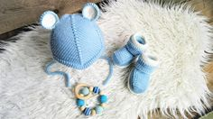 Knitted baby booties and hat 100% merino wool. MADE TO ORDER