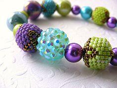 Beadwork bracelet purple lime turquoise beaded bracelet spring mothers day beadwork bracelet