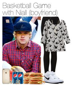 """""""Basketball Game with Niall (boyfriend)"""" by vane-abreu ❤ liked on Polyvore featuring Topshop, H&M and NIKE"""