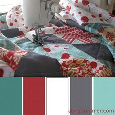 Image result for aqua and red grey kitchen