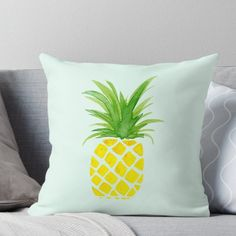 'Watercolor Pineapple' Throw Pillow by Throw Pillows Bed, Bed Throws, Floor Pillows, Decorative Throw Pillows, Pineapple Room Decor, Applique Pillows, Bed Covers, Wall Tapestry, Framed Prints
