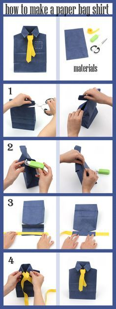 Make a shirt and tie with a paper bag! For detailed instructions, visit jetpens.com/blog. #diy #paperbagcraft
