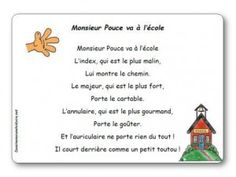 Comptine Monsieur Pouce va à l'école Petite Section, Music Ed, Learn French, Story Time, Compassion, Montessori, Poems, Classroom, Messages