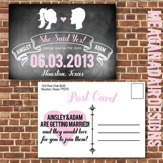 Custom Printed Chalk Board Save The Date by meaganadair on Etsy, $1.75