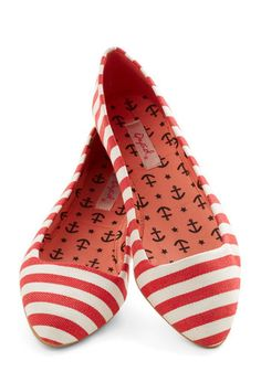 Like It or Nautical Flat in Red - Flat, Woven, Red, White, Stripes, Casual, Weekend, Nautical, Good, Variation