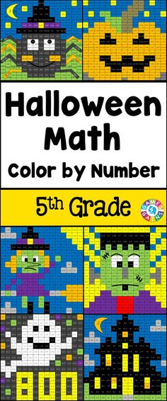 Halloween Math Color-by-Number set comes with 6 Halloween math color-by-number activities for reviewing 5th grade math skills. This Halloween math set is perfect to use in centers, in small groups, or with the whole class! $