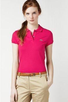 917cf8d9f2c6e Lacoste Women`s Short Sleeve 2 Button Stretch Pique Polo -White - List price