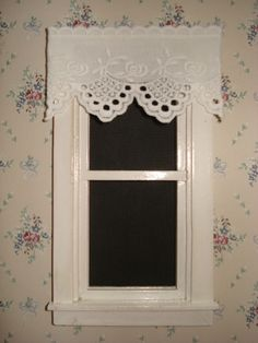 "Dollhouse Curtains White w/ Rose Pattern 3"" W by 1 3/4"" L"