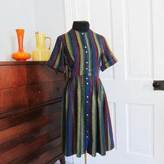 Vintage 60s Wool Dress Size Medium Striped by AmbassadorGrooviness