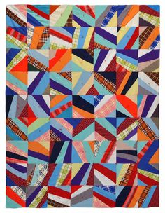Wonkyworld: a pair of 1970s quilts. #2 is bricks in bold colors from double knits. Nice!