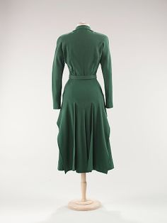 Dress.  Attributed to House of Balenciaga (French, founded 1937).  Designer: Attributed to Cristobal Balenciaga (Spanish, 1895–1972). Date: ca. 1947. Culture: French. Medium: wool. Dimensions: Length at CB (a): 48 1/2 in. (123.2 cm).