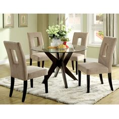 Royce 30 Inch Round Glass Top Dining Table