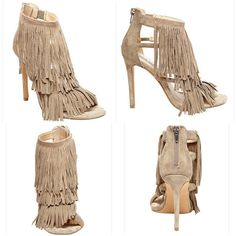 NEW Steve Madden Fringly Taupe Fringe Sandals 6 DETAILS Fringe benefits!  All that swishy fringe detail on Madden's open toe stiletto heel sandal will make you look amazing.  Zipper at back of heel counter.  Pair with faux leather shorts and a fitted long sleeve for a cool, on-point look.  Suede upper Man-made lining Man-made sole 4.75 inch heel height Back zipper                                                                Size 6 Steve Madden Shoes Sandals