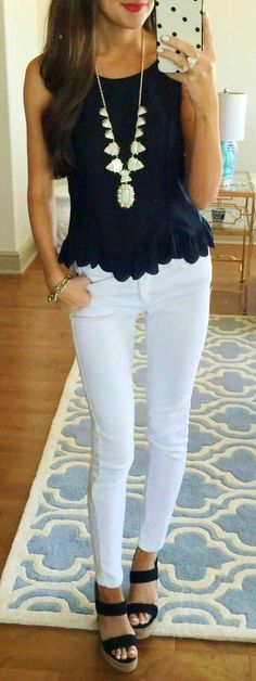 summer outfits Black Tank + White Skinny Jeans
